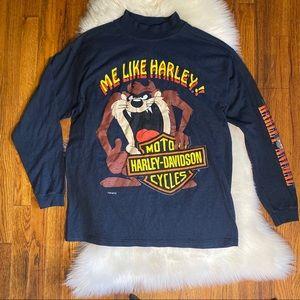 Vtg 90s Harley Davidson Looney Tunes Taz LS Shirt